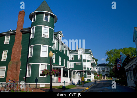 Historic building on Mackinac Island located in Lake Huron, Michigan, USA. - Stock Photo