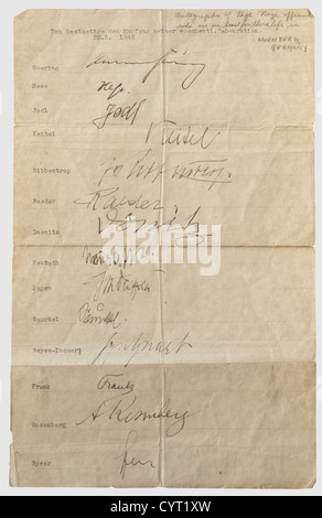 The Nuremberg Trials, signatures of 18 main defendants Two sheets with the signatures of 18 main defendants in the - Stock Photo