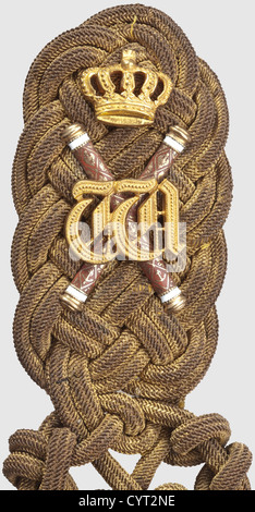 Emperor Wilhelm II (1859 - 1941), a shoulder board with lanyard for the rank of a grand admiral Heavy, broad, slightly - Stock Photo