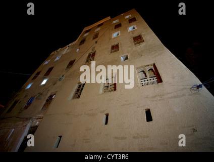 Night View Of A Five Storey House In Shibam, Yemen - Stock Photo
