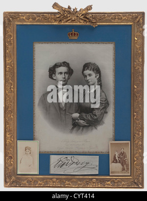 King Ludwig II of Bavaria and Duchess Sophie in Bavaria, an engagement portrait on silk, 1867 Lithograph on silk, - Stock Photo