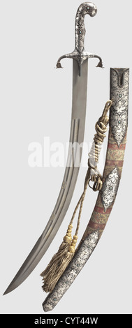 A Persian kilij with silver inlay, 19th century A heavy single-edged blade of fine wootz-Damascus with several fullers - Stock Photo