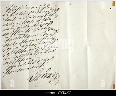 King Ludwig II of Bavaria (1845 - 1886), two handwritten letters The letter paper has the royal coat of arms on - Stock Photo