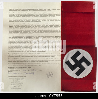 Joachim von Ribbentrop (1893 - 1946) - Lieutenant Noel Kenneth Stone, an armband for the party uniform, a war souvenir - Stock Photo