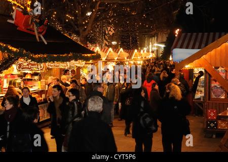 Christmas market at the Kaiser Wilhelm Memorial Church, Breitscheidplatz square, Kurfuerstendamm, Berlin, Germany, - Stock Photo