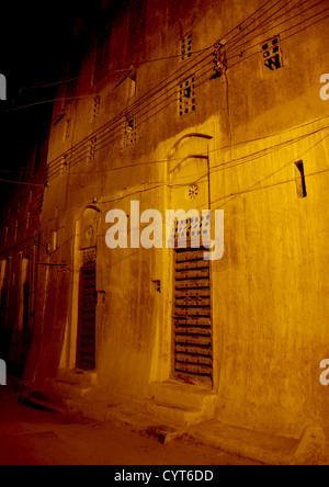 The Old Town Of Shibam At Night, Yemen - Stock Photo
