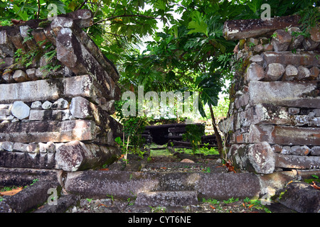 Ruins at the city of Nan Madol, the 'Venice of the Pacific', Madolenihmw district, Pohnpei, Federated States of - Stock Photo