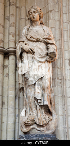 BRUSSELS - JUNE 22: Statue of Virgin Mary from gothic cathedral of Saint Michael on June 22, 2012 in Brussels. - Stock Photo