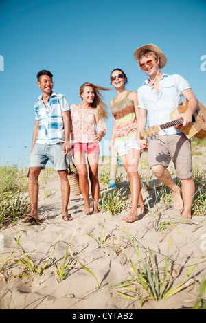 young group having fun outdoors - Stock Photo