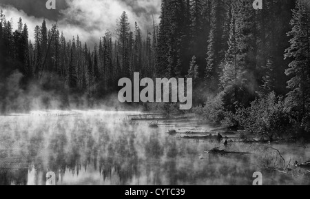 Morning Mist over Mountain Lake - Stock Photo