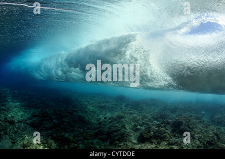 Wave breaking on reef, seen from below the surface, Palikir Pass, Pohnpei, Federated States of Micronesia - Stock Photo