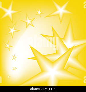 falling stars from the sky in yellow - Stock Photo