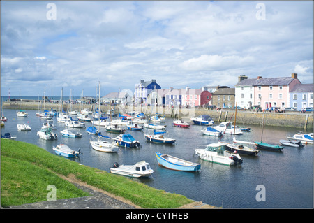 Aberaeron Harbour, Ceredigion, West Wales on a sunny August day - Stock Photo