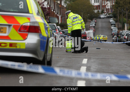 Police pictured at the scene of a hit and run in Brighton, East Sussex, UK. - Stock Photo