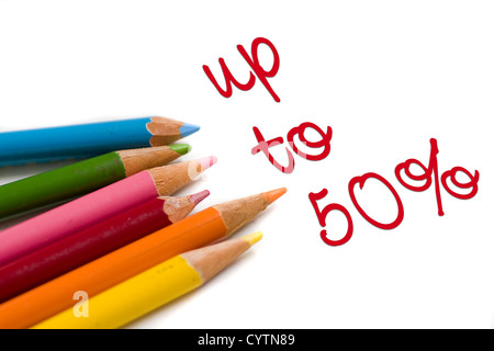 Set of color pencils with 50% off text, concept special sale or deal - Stock Photo