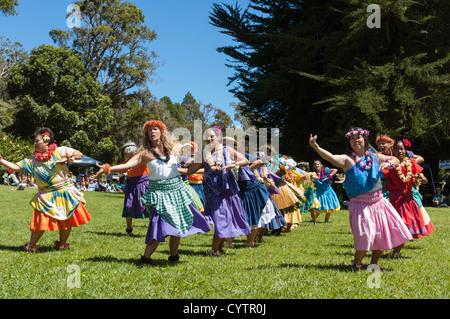 Elk284-7417 Hawaii, Kauai, Kokee State Park, hula dancers - Stock Photo