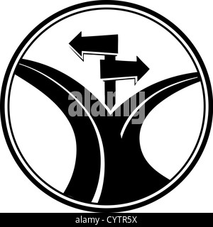Two arrows pointing to a forked road - Stock Photo