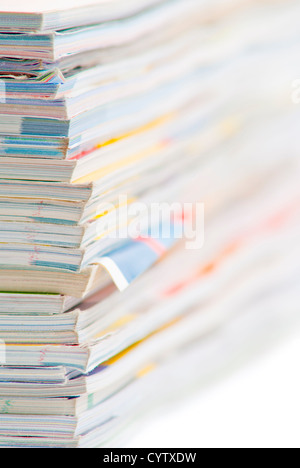 stack of colorful magazines or documents - paper edges background - Stock Photo