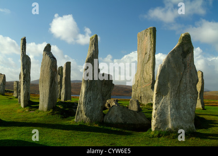 Central group of The Standing Stones of Callanish (Calanais) on the Island of  Lewis in the Outer Hebrides, Scotland. - Stock Photo