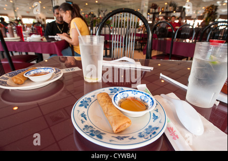 USA, Florida. Egg roll at the Pho 88 Vietnamese Restaurant, Orlando, Florida. - Stock Photo