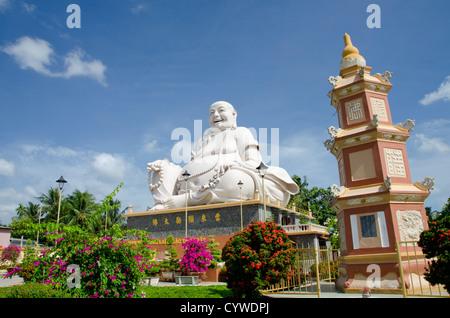 Vietnam, My Tho, Mekong Delta river area. Vinh Trang Pagoda complex, Big Happy Buddha statue (Nam Mo duong Lai Di - Stock Photo