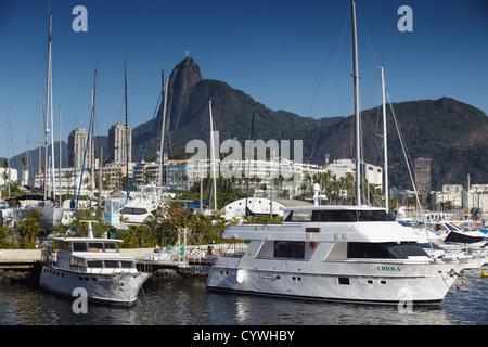 Boats moored in harbour, Urca, Rio de Janeiro, Brazil - Stock Photo