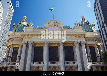 Theatro Municipal (Municipal Theatre) in Praca Floriano (Floriano Square), Centro, Rio de Janeiro, Brazil - Stock Photo