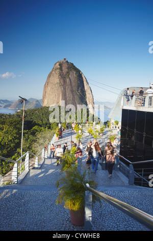 Tourists at cable car station for Sugar Loaf Mountain on Morro da Urca, Urca, Rio de Janeiro, Brazil - Stock Photo