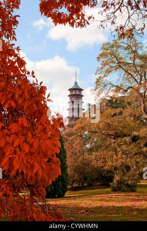 Pagoda in fall colours, Kew Gardens - Stock Photo