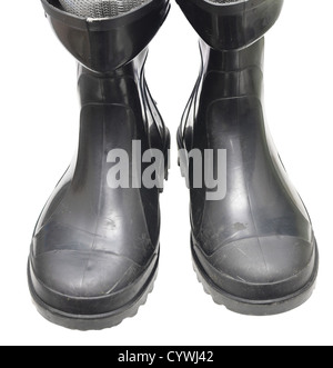 rubber boots isolated on white - Stock Photo