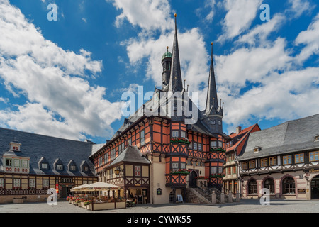 The City Hall of Wernigerode, Harz, Saxony-Anhalt, Germany, Europe - Stock Photo