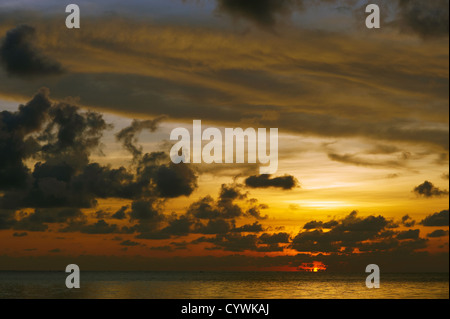 Sunset over South China Sea, Sabah, Borneo - Stock Photo