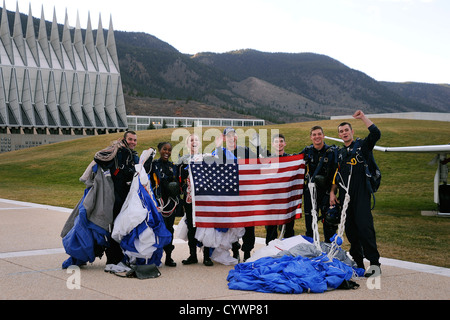 The U.S. Air Force Academy Wings of Blue parachute team poses for ESPN cameras during the SportsNation live broadcast - Stock Photo