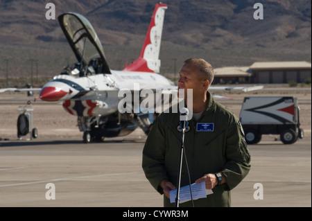 U.S. Air Force Maj. Gen. Jeffrey Lofgren, U.S. Air Force Warfare Center commander, makes opening remarks during - Stock Photo