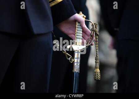 11 November 2012, George Square,Glasgow Scotland. Naval Officer on parade holding his sword at the Remembrance Day - Stock Photo
