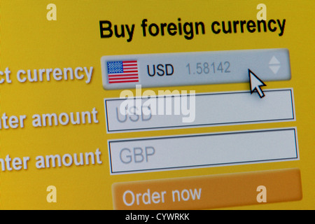 Close up of a fictional website inviting users to buy foreign currency, in this instance US Dollars. - Stock Photo
