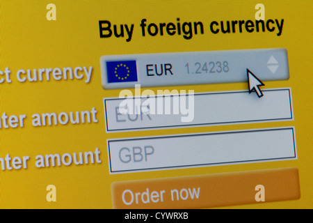 Close up of a fictional website inviting users to buy foreign currency, in this instance Euros. - Stock Photo