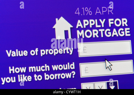 Close up of a fictional website inviting users to apply for a mortgage - Stock Photo