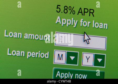 Close up of a fictional website inviting users to apply for a loan. - Stock Photo