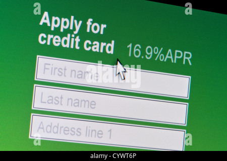 Close up of a fictional website inviting users to apply for a credit card. - Stock Photo