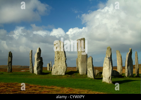 Central area of the Standing Stones of Callanish (Calanais) on the Island of  Lewis in the Outer Hebrides, Scotland. - Stock Photo