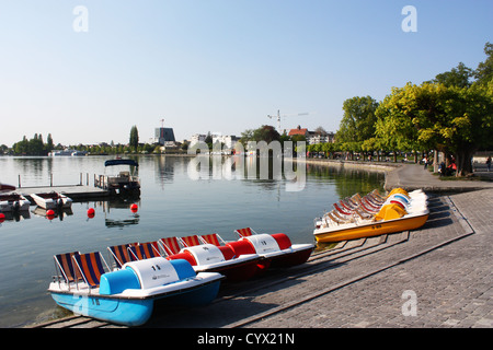 Lake with boats in Zug, Switzerland - Stock Photo