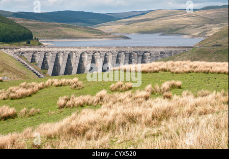 Nant-y-moch Reservoir located in Cambrian Mountains, northern Ceredigion, Wales - Stock Photo