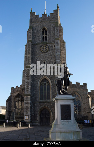 sudbury town Statue of Thomas Gainsborough on Market Hill centre suffolk england uk gb - Stock Photo