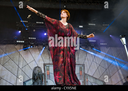 Florence Welch of Florence and the Machine performing at Lollapalooza 2012. - Stock Photo