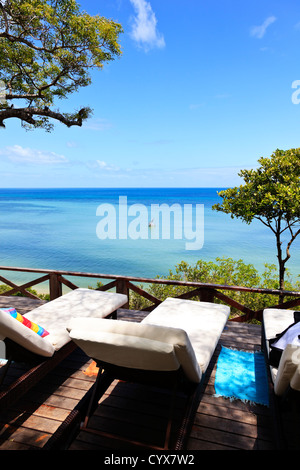 The view from the deck of a luxury lodge on Inhaca Island Mozambique - Stock Photo