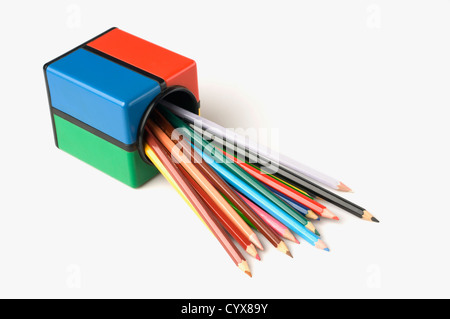 Close-up of a pencil stand with colored pencils - Stock Photo