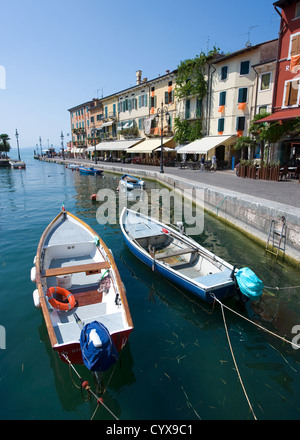 The romantic little harbor of Lazise at the Garda lake in Italy - Stock Photo