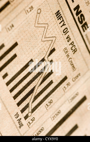 Bar graph on a financial newspaper - Stock Photo