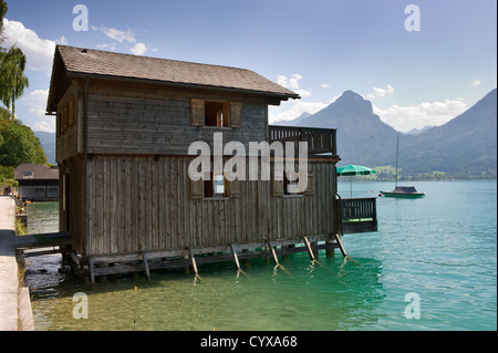 Boathouse on the banks of the wolfgangsee in Austria - Stock Photo